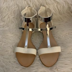 Zara White & Metal Sandals 36 6